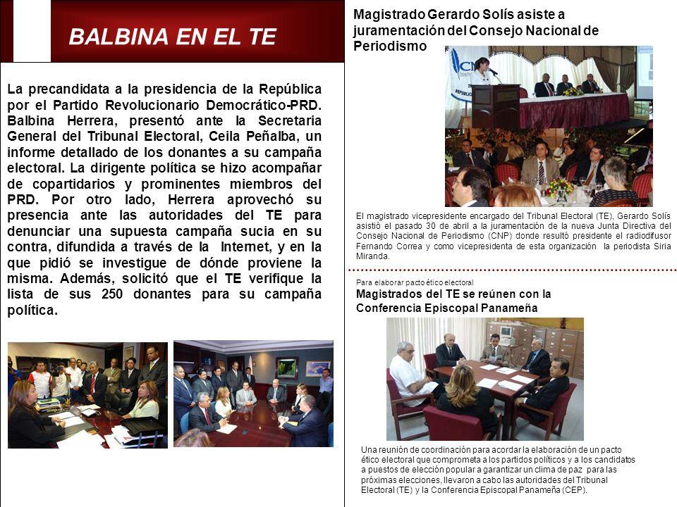 BALBINA EN EL TE La precandidata a la presidencia de la República por el Partido Revolucionario Democrático-PRD. Balbina Herrera, presentó ante la Sec