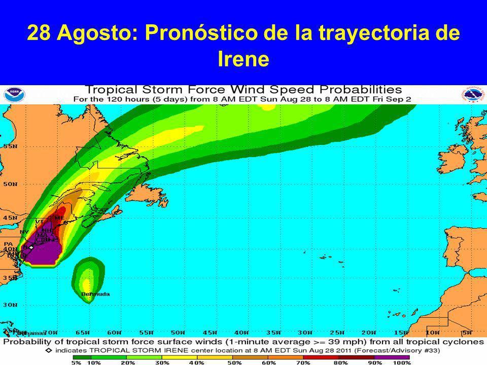 28 Agosto: Pronóstico de la trayectoria de Irene