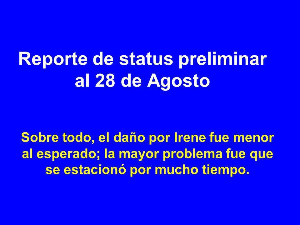 Reporte de status preliminar al 28 de Agosto Sobre todo, el daño por Irene fue menor al esperado; la mayor problema fue que se estacionó por mucho tiempo.