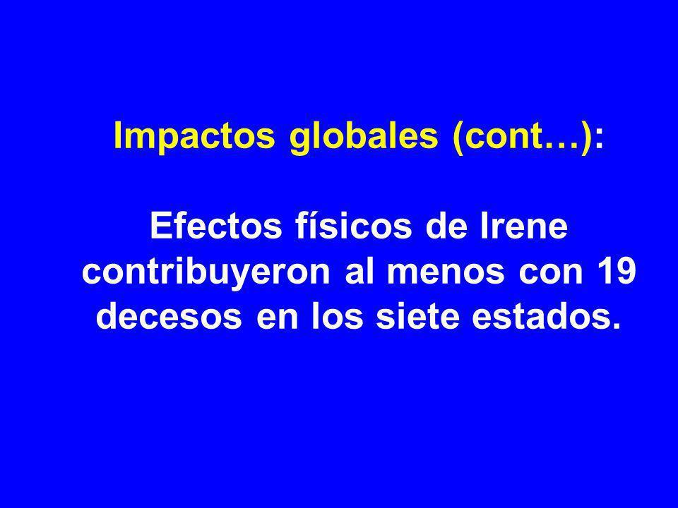 Impactos globales (cont…): Efectos físicos de Irene contribuyeron al menos con 19 decesos en los siete estados.