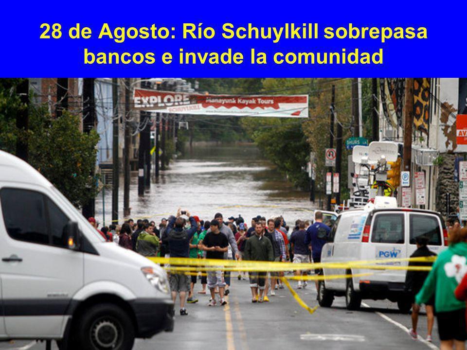 28 de Agosto: Río Schuylkill sobrepasa bancos e invade la comunidad