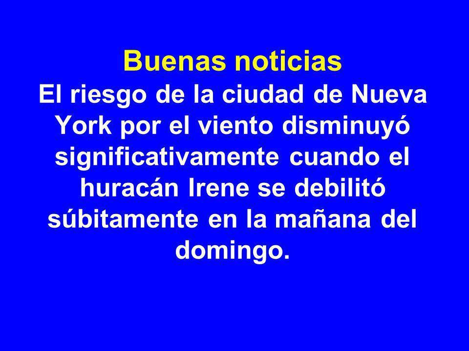 Buenas noticias El riesgo de la ciudad de Nueva York por el viento disminuyó significativamente cuando el huracán Irene se debilitó súbitamente en la mañana del domingo.
