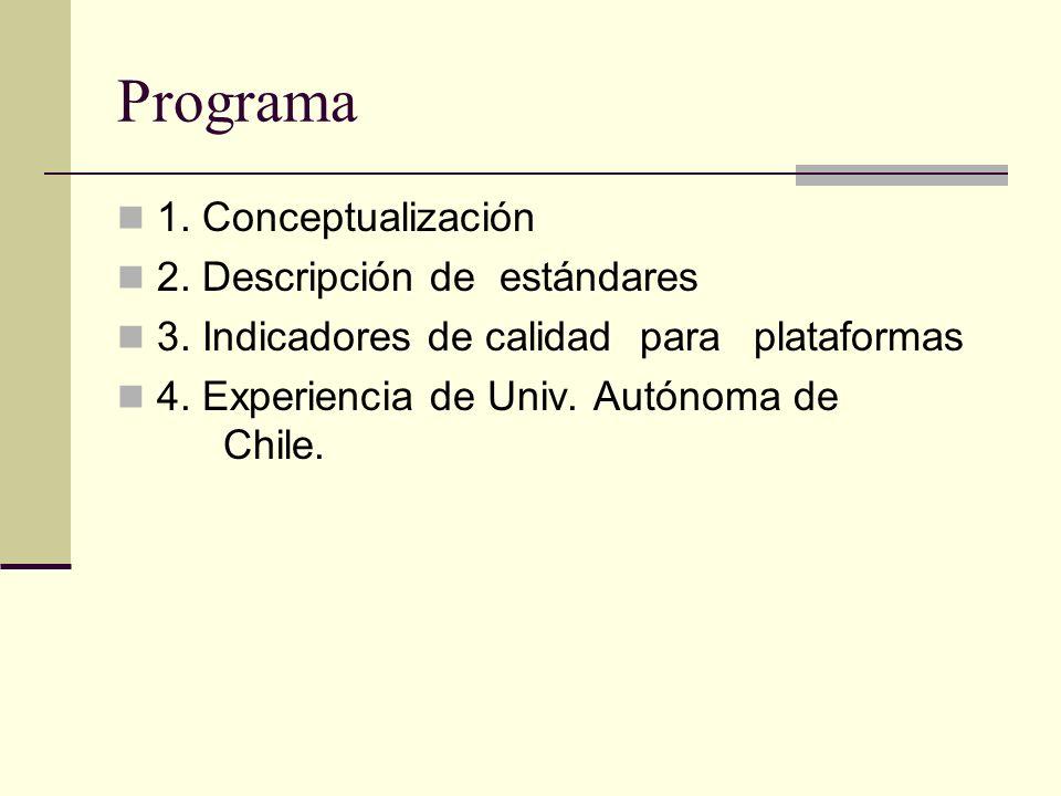 Programa 1. Conceptualización 2. Descripción de estándares 3. Indicadores de calidad para plataformas 4. Experiencia de Univ. Autónoma de Chile.