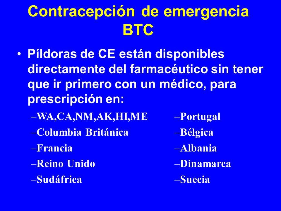 Contracepción de emergencia BTC Píldoras de CE están disponibles directamente del farmacéutico sin tener que ir primero con un médico, para prescripci