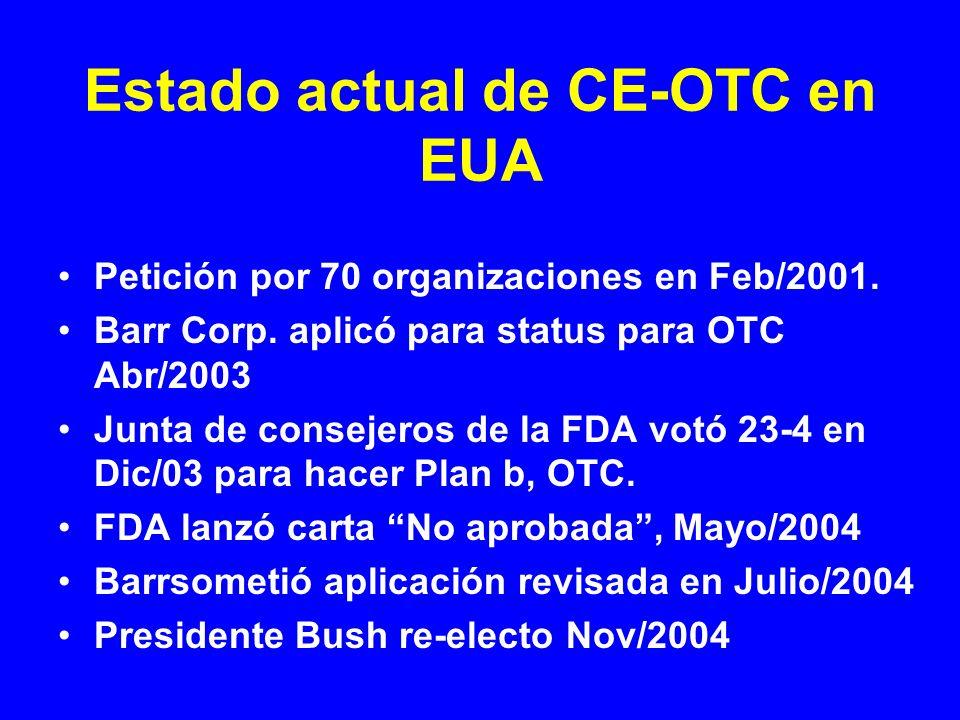 Estado actual de CE-OTC en EUA Petición por 70 organizaciones en Feb/2001. Barr Corp. aplicó para status para OTC Abr/2003 Junta de consejeros de la F