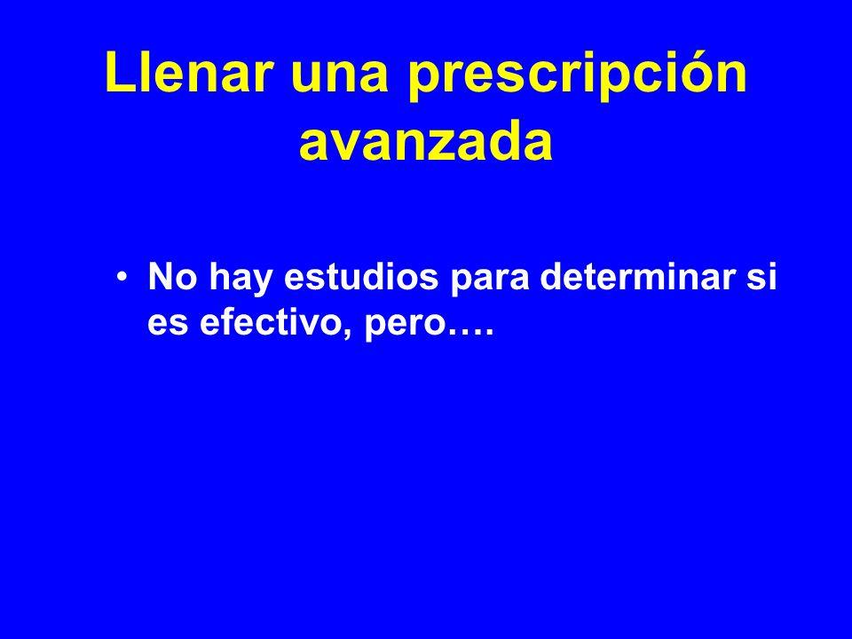 Llenar una prescripción avanzada No hay estudios para determinar si es efectivo, pero….