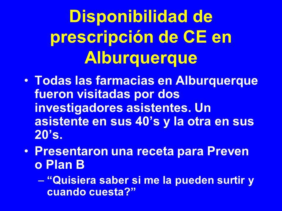 Disponibilidad de prescripción de CE en Alburquerque Todas las farmacias en Alburquerque fueron visitadas por dos investigadores asistentes. Un asiste