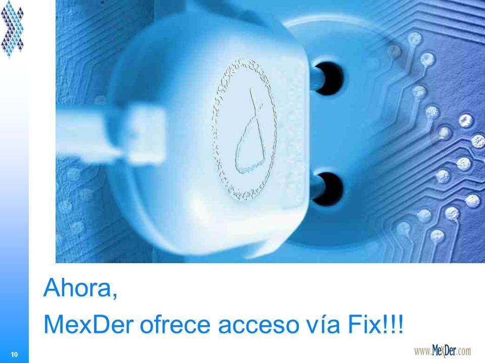 10 Ahora, MexDer ofrece acceso vía Fix!!!
