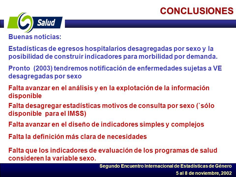 Segundo Encuentro Internacional de Estadísticas de Género 5 al 8 de noviembre, 2002 CONCLUSIONES Buenas noticias: Estadísticas de egresos hospitalario