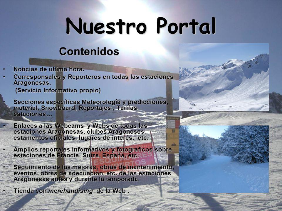 Nuestro Portal Contenidos Noticias de última hora. Corresponsales y Reporteros en todas las estaciones Aragonesas. (Servicio Informativo propio) Secci