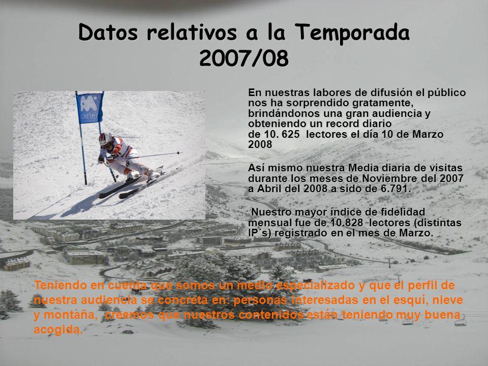 Datos relativos a la Temporada 2007/08 En nuestras labores de difusión el público nos ha sorprendido gratamente, brindándonos una gran audiencia y obt