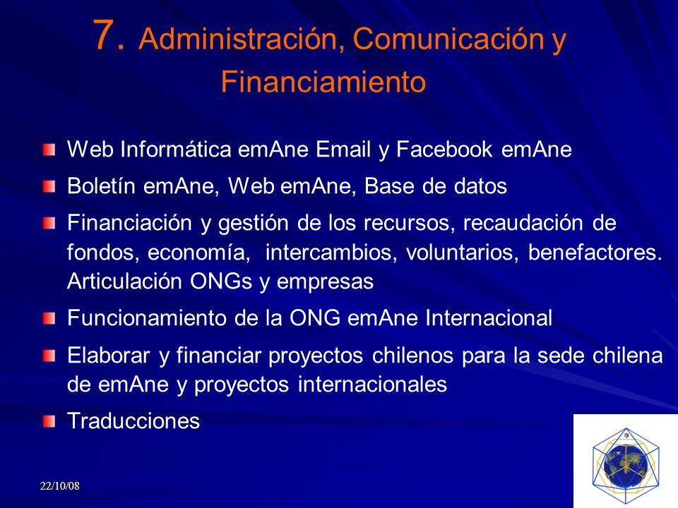 7. Administración, Comunicación y Financiamiento Web Informática emAne Email y Facebook emAne Boletín emAne, Web emAne, Base de datos Financiación y g