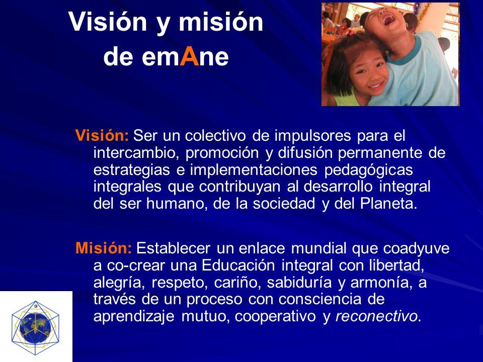 Visión y misión de emAne Visión: Ser un colectivo de impulsores para el intercambio, promoción y difusión permanente de estrategias e implementaciones pedagógicas integrales que contribuyan al desarrollo integral del ser humano, de la sociedad y del Planeta.
