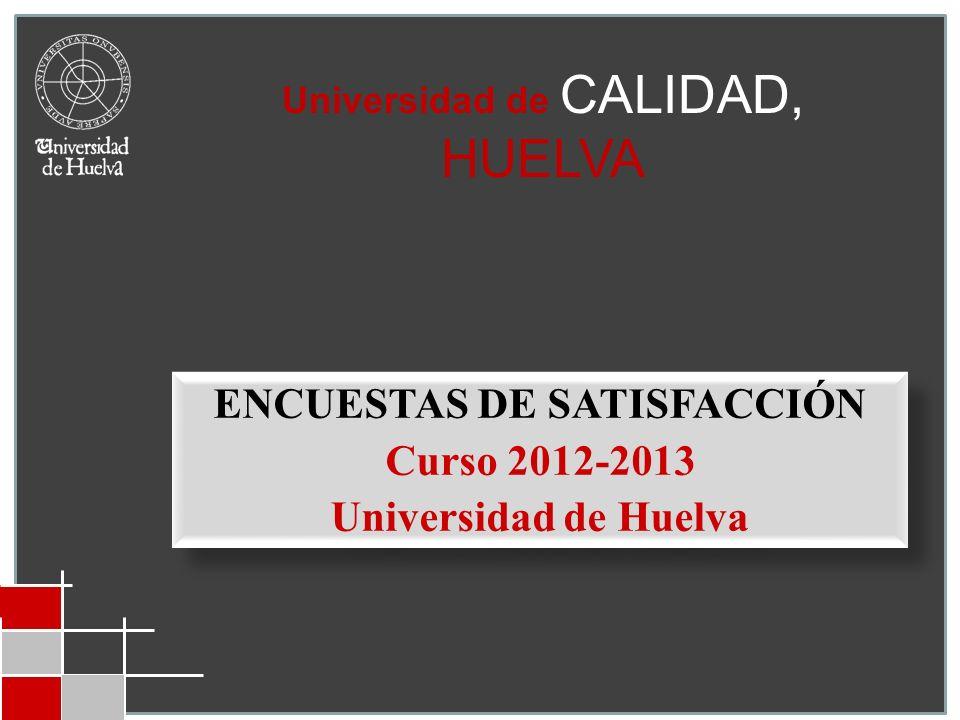 Universidad de CALIDAD, HUELVA ENCUESTAS DE SATISFACCIÓN Curso 2012-2013 Universidad de Huelva ENCUESTAS DE SATISFACCIÓN Curso 2012-2013 Universidad d