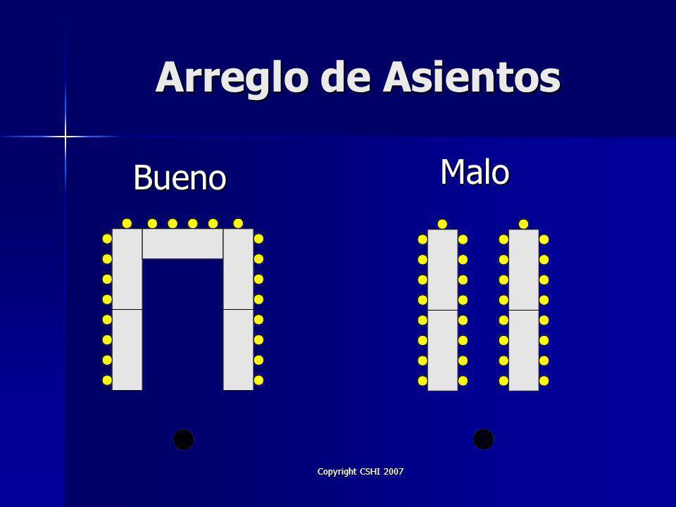 Copyright CSHI 2007 Arreglo de Asientos Bueno Malo