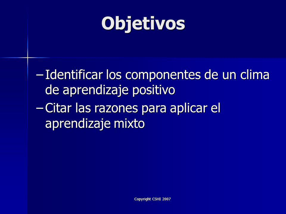 Copyright CSHI 2007 Objetivos –Comparar las etapas en el proceso de aprendizaje –Describir las diferencias de aprendizaje entre adultos y niños –Describir los estilos básicos de aprendizaje –Identificar los factores que motivan a los adultos
