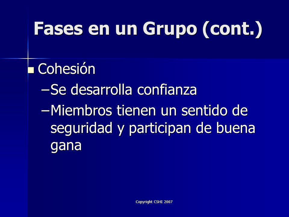 Copyright CSHI 2007 Unión del Grupo Unión del Grupo –Los individuos se sienten parte del grupo –Se forma un cliché –Miembros trabajan hacia una meta común –Comunicación constructiva Fases en un Grupo (cont.)