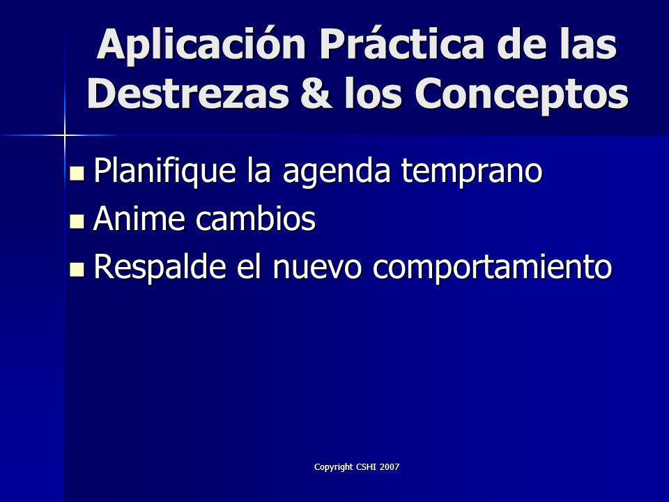 Copyright CSHI 2007 Conducta Disfuncional ¿Dirige atención hacia el comportamiento.