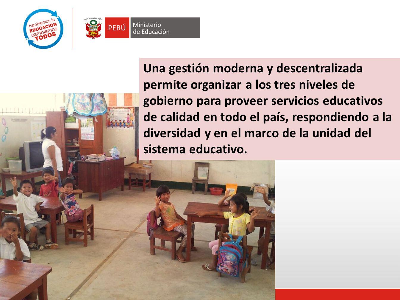 Una gestión moderna y descentralizada permite organizar a los tres niveles de gobierno para proveer servicios educativos de calidad en todo el país, respondiendo a la diversidad y en el marco de la unidad del sistema educativo.
