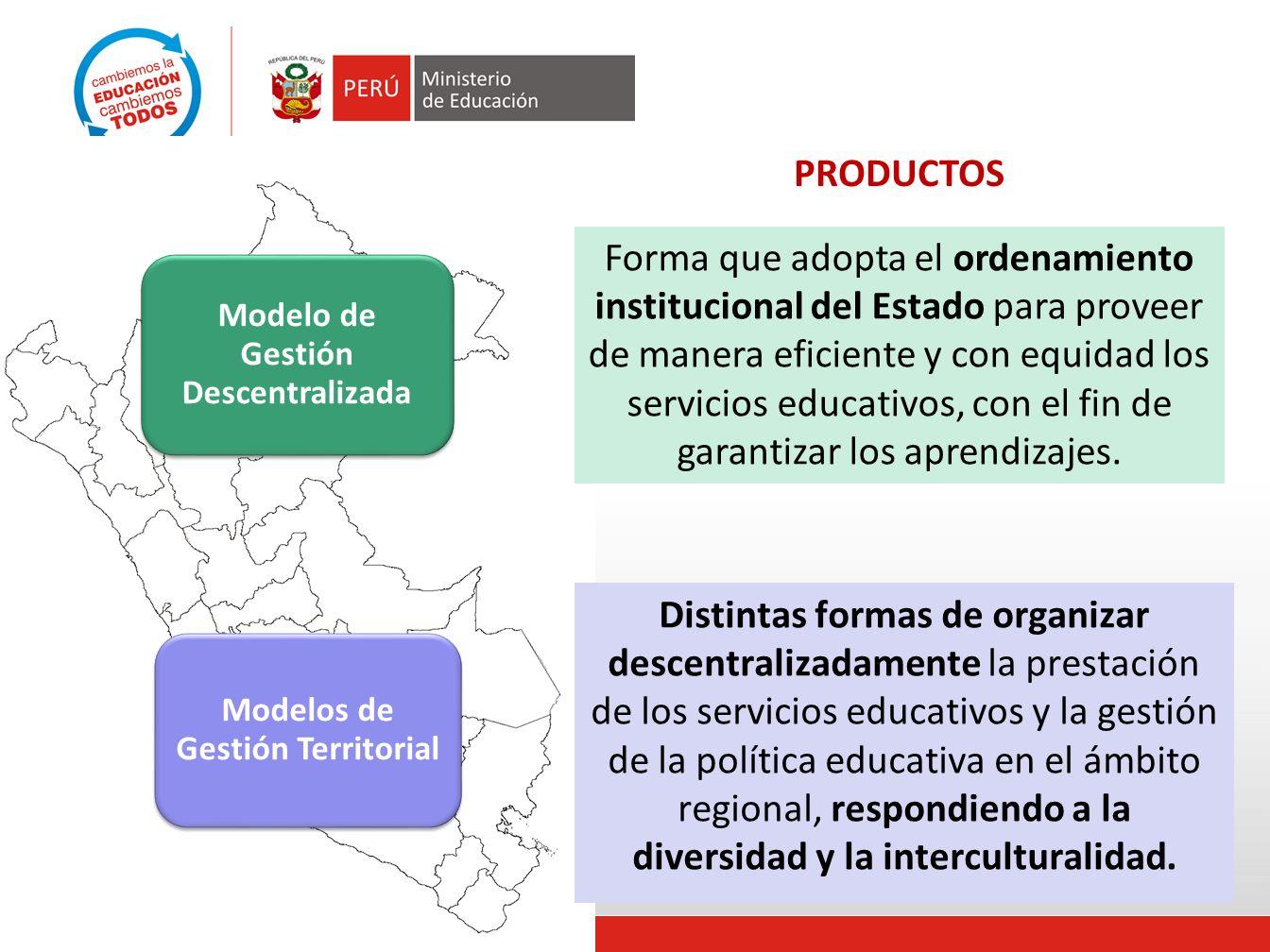 Modelo de Gestión Descentralizada Modelos de Gestión Territorial Forma que adopta el ordenamiento institucional del Estado para proveer de manera eficiente y con equidad los servicios educativos, con el fin de garantizar los aprendizajes.
