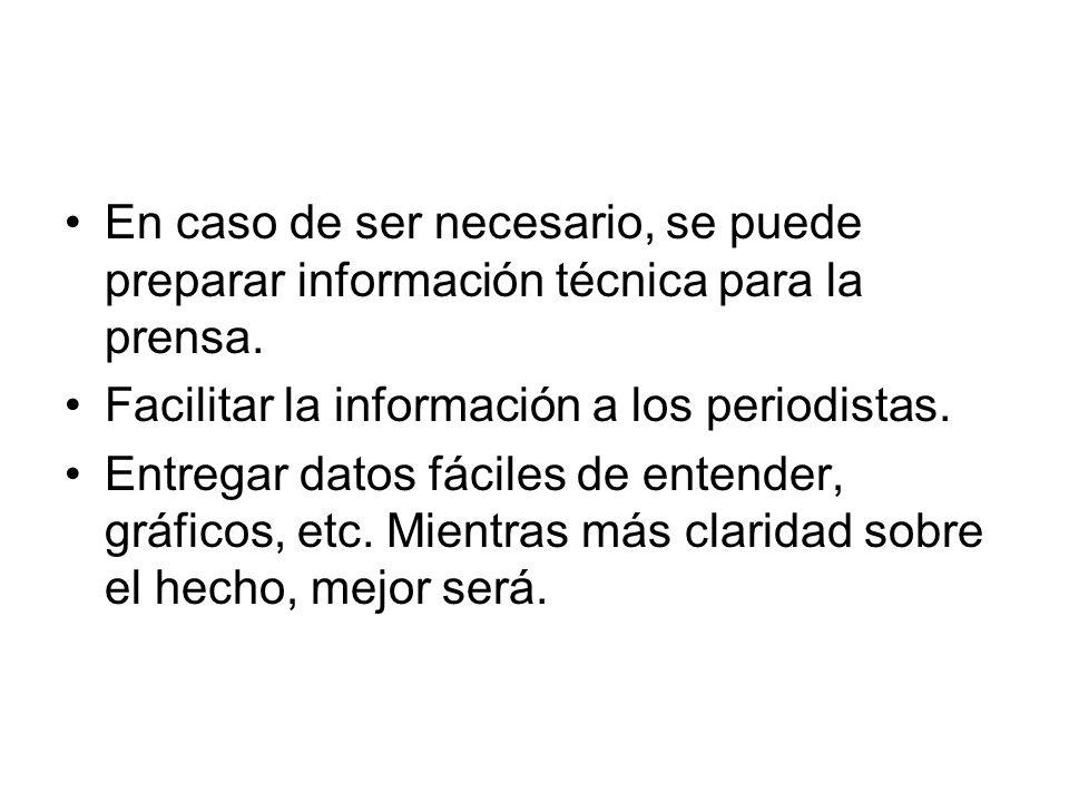 En caso de ser necesario, se puede preparar información técnica para la prensa. Facilitar la información a los periodistas. Entregar datos fáciles de