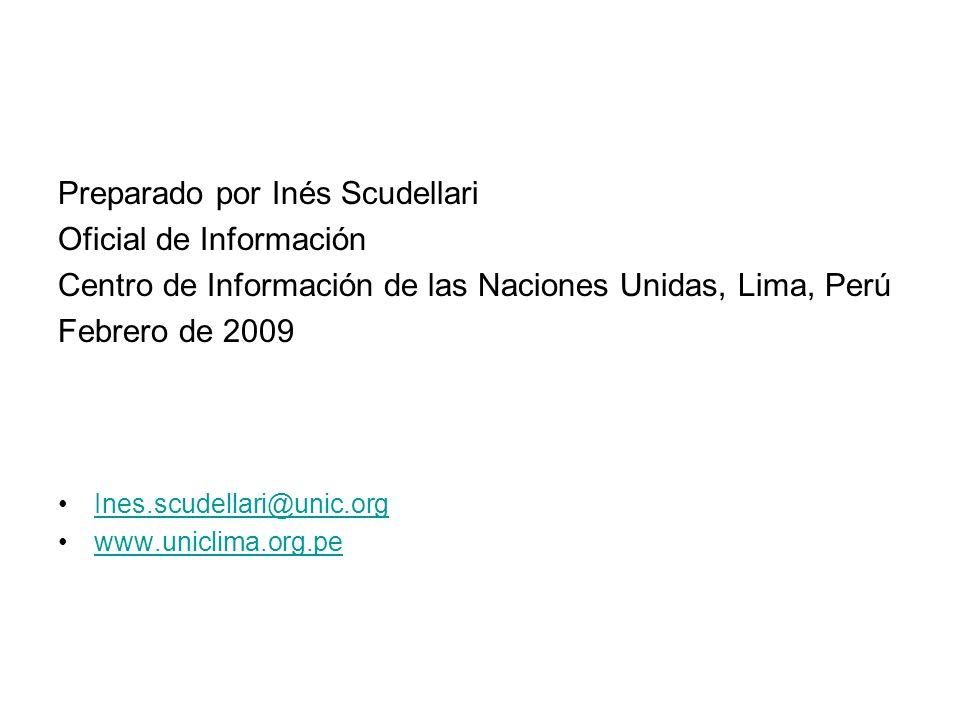 Preparado por Inés Scudellari Oficial de Información Centro de Información de las Naciones Unidas, Lima, Perú Febrero de 2009 Ines.scudellari@unic.org