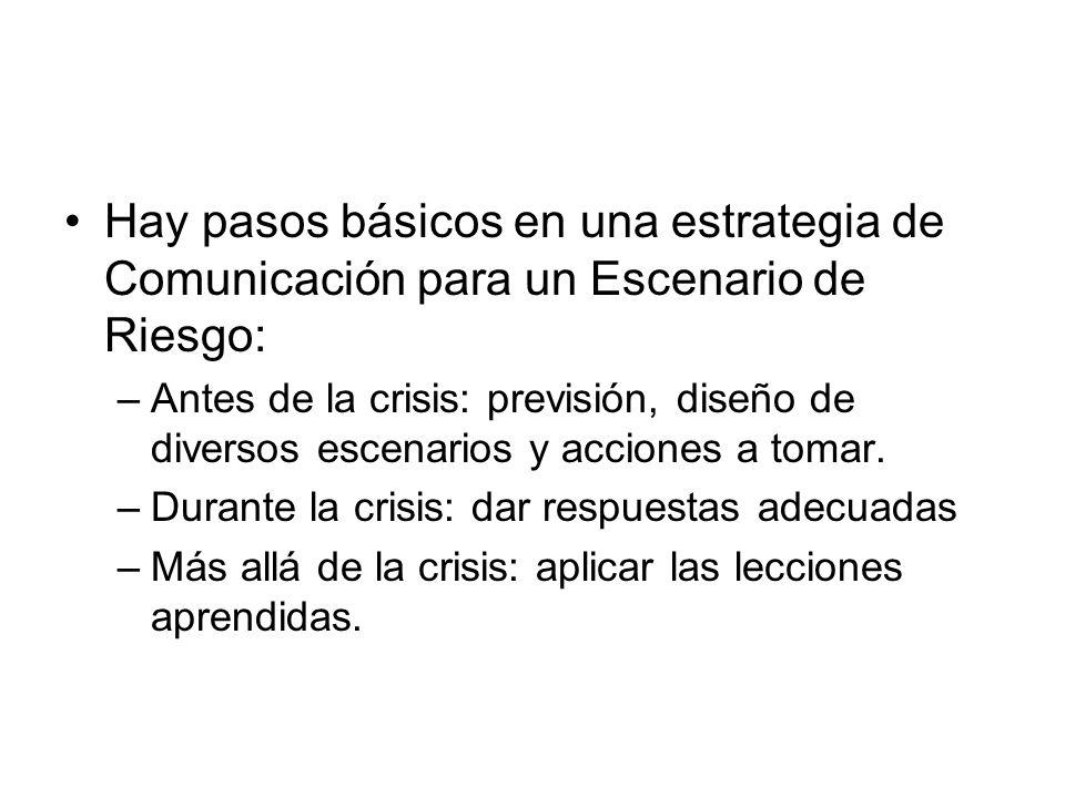 Hay pasos básicos en una estrategia de Comunicación para un Escenario de Riesgo: –Antes de la crisis: previsión, diseño de diversos escenarios y accio