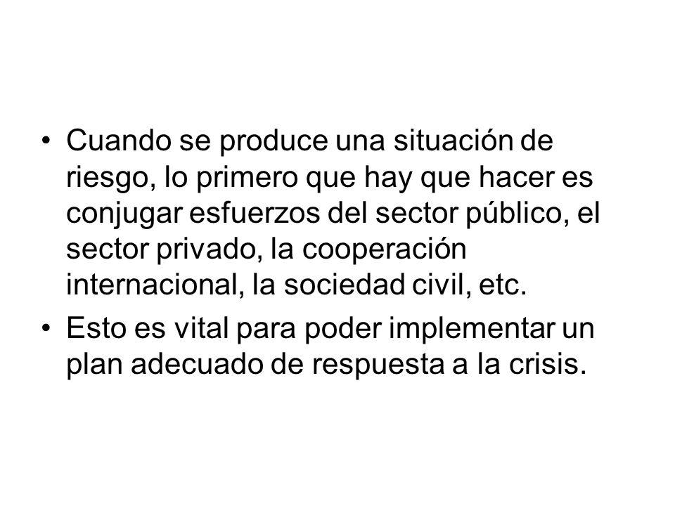 Cuando se produce una situación de riesgo, lo primero que hay que hacer es conjugar esfuerzos del sector público, el sector privado, la cooperación in