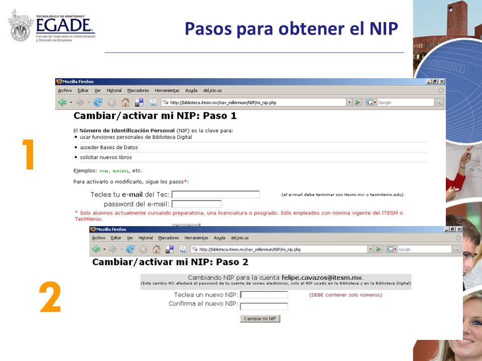 Pasos para obtener el NIP 1 2