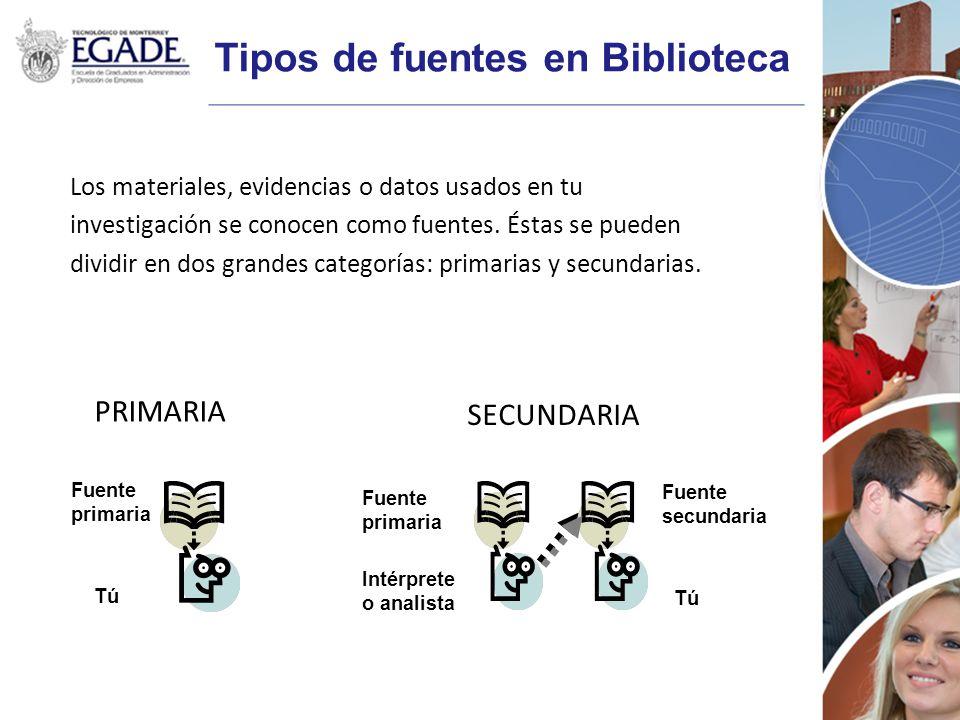 Tipos de fuentes en Biblioteca Los materiales, evidencias o datos usados en tu investigación se conocen como fuentes. Éstas se pueden dividir en dos g