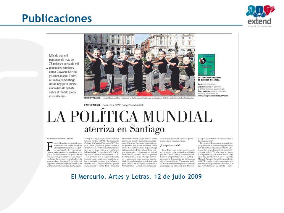 El Mercurio. Artes y Letras. 12 de julio 2009 Publicaciones
