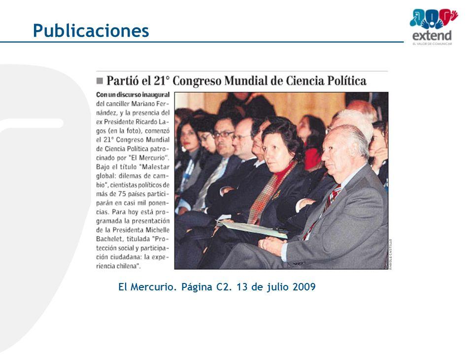 El Mercurio. Página C2. 13 de julio 2009 Publicaciones