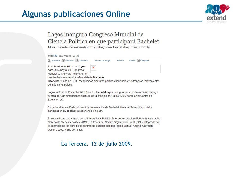 La Tercera. 12 de julio 2009. A lgunas publicaciones Online