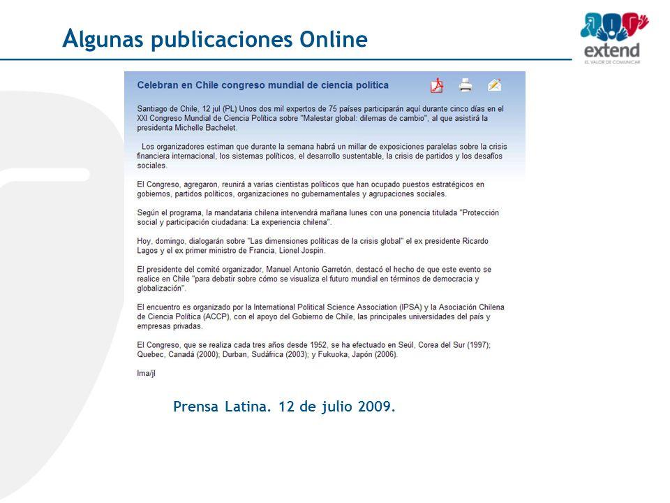 Prensa Latina. 12 de julio 2009. A lgunas publicaciones Online