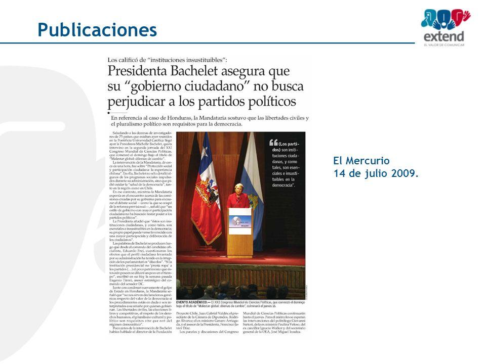 El Mercurio 14 de julio 2009. Publicaciones