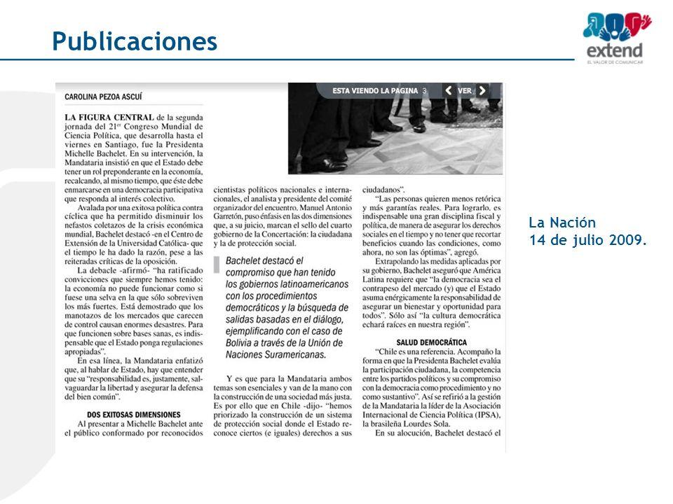 La Nación 14 de julio 2009. Publicaciones