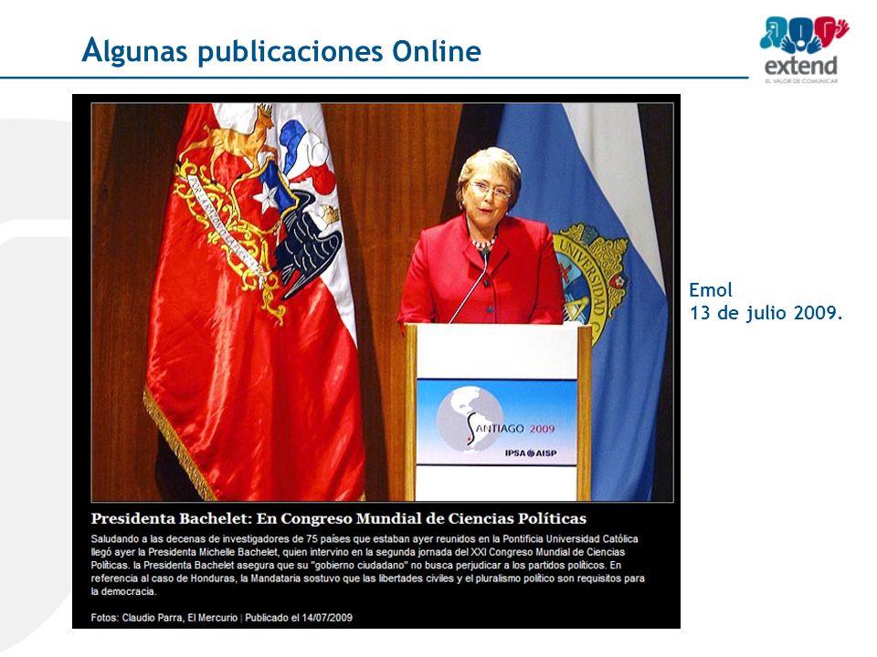 Emol 13 de julio 2009. A lgunas publicaciones Online