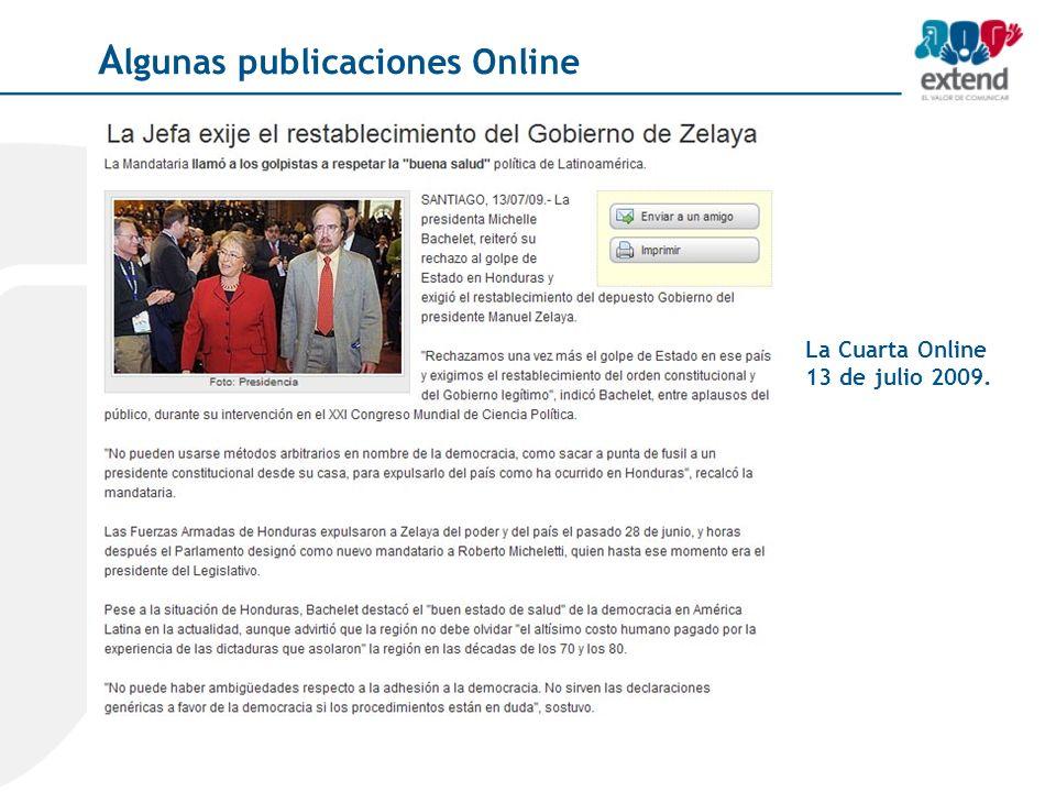 La Cuarta Online 13 de julio 2009. A lgunas publicaciones Online