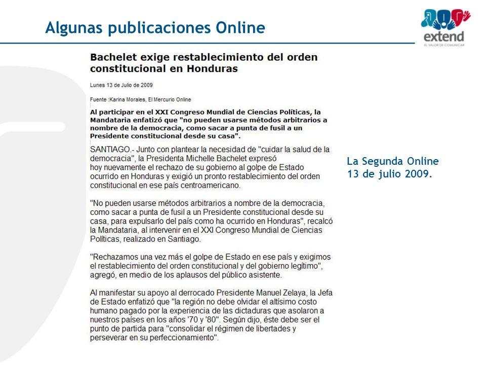 La Segunda Online 13 de julio 2009. Algunas publicaciones Online