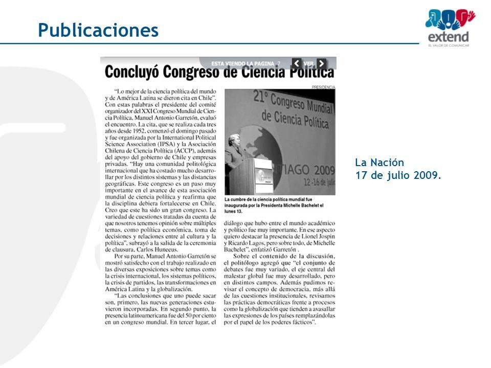 La Nación 17 de julio 2009. Publicaciones