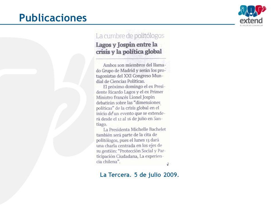 La Tercera. 5 de julio 2009. Publicaciones