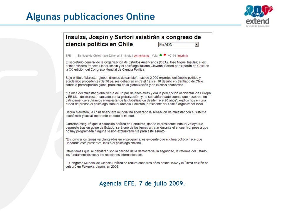 Agencia EFE. 7 de julio 2009. A lgunas publicaciones Online