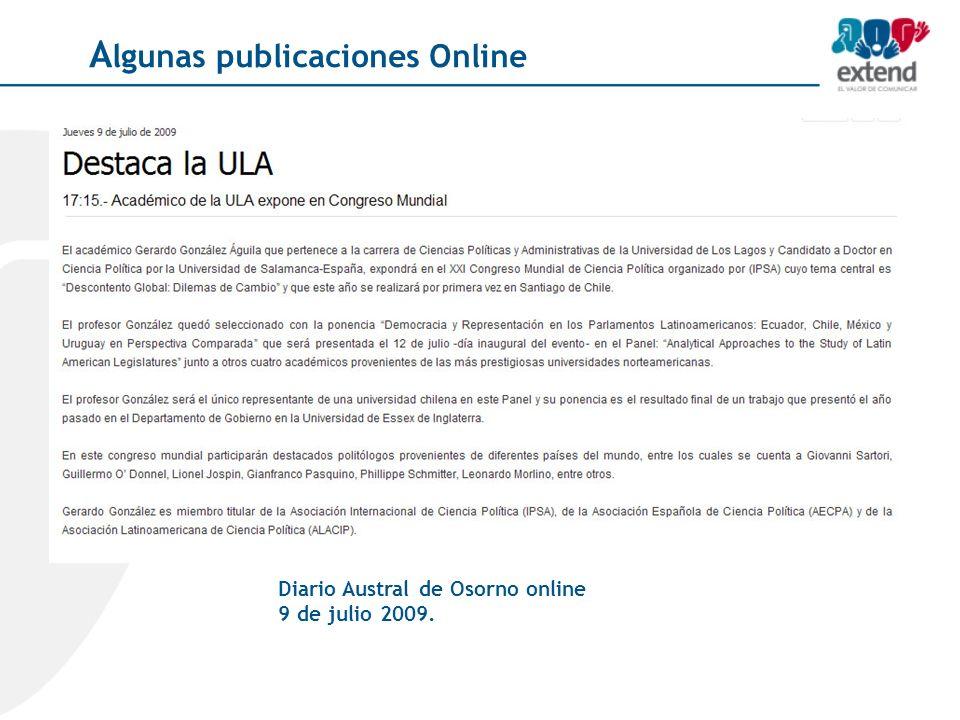 Diario Austral de Osorno online 9 de julio 2009. A lgunas publicaciones Online