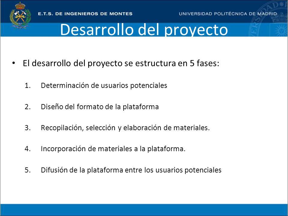 Desarrollo del proyecto El desarrollo del proyecto se estructura en 5 fases: 1.Determinación de usuarios potenciales 2.Diseño del formato de la plataf