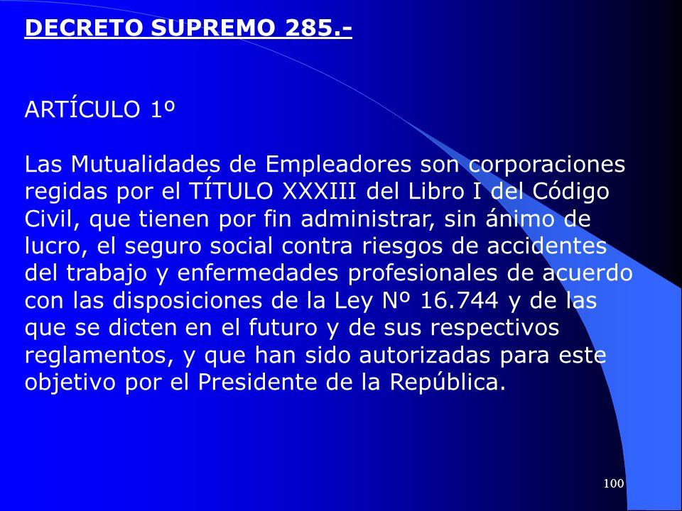 DECRETO SUPREMO 285.- ARTÍCULO 1º Las Mutualidades de Empleadores son corporaciones regidas por el TÍTULO XXXIII del Libro I del Código Civil, que tie