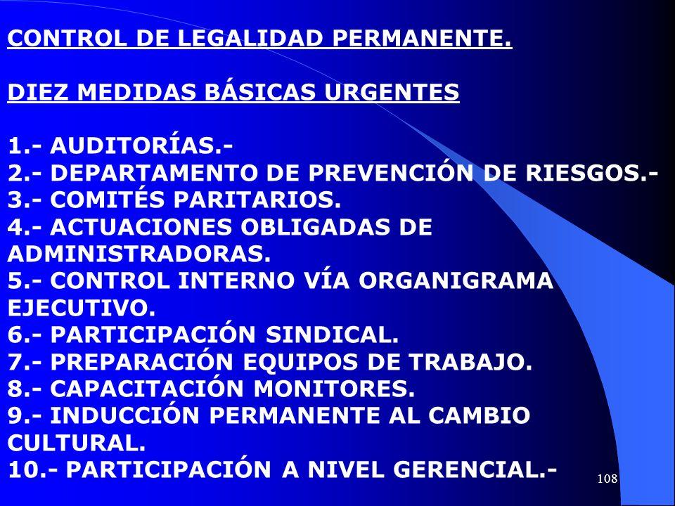 CONTROL DE LEGALIDAD PERMANENTE. DIEZ MEDIDAS BÁSICAS URGENTES 1.- AUDITORÍAS.- 2.- DEPARTAMENTO DE PREVENCIÓN DE RIESGOS.- 3.- COMITÉS PARITARIOS. 4.