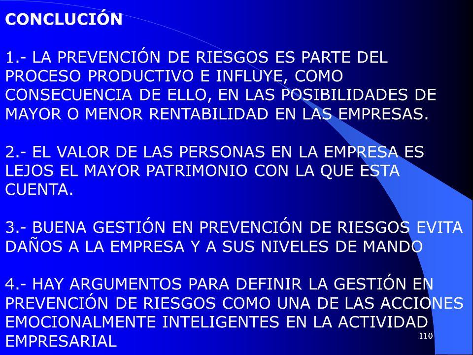 CONCLUCIÓN 1.- LA PREVENCIÓN DE RIESGOS ES PARTE DEL PROCESO PRODUCTIVO E INFLUYE, COMO CONSECUENCIA DE ELLO, EN LAS POSIBILIDADES DE MAYOR O MENOR RE
