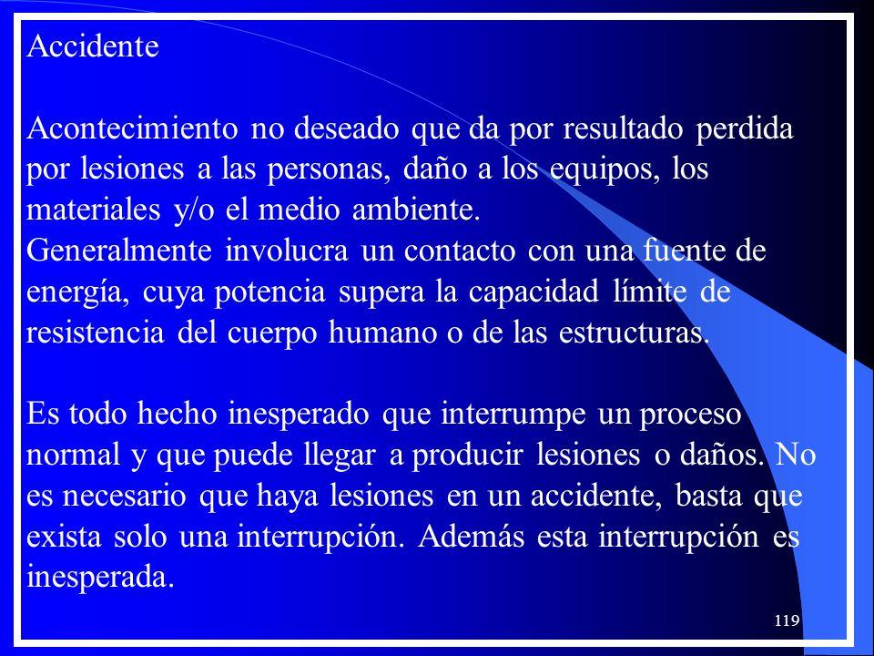 Accidente Acontecimiento no deseado que da por resultado perdida por lesiones a las personas, daño a los equipos, los materiales y/o el medio ambiente