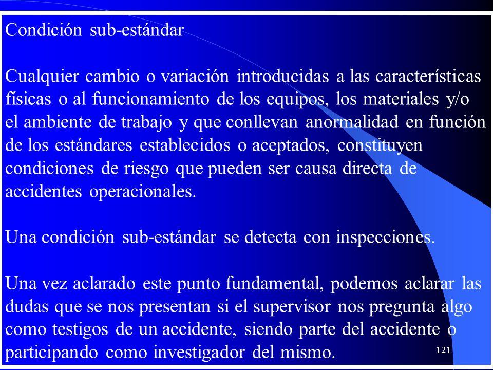 Condición sub-estándar Cualquier cambio o variación introducidas a las características físicas o al funcionamiento de los equipos, los materiales y/o