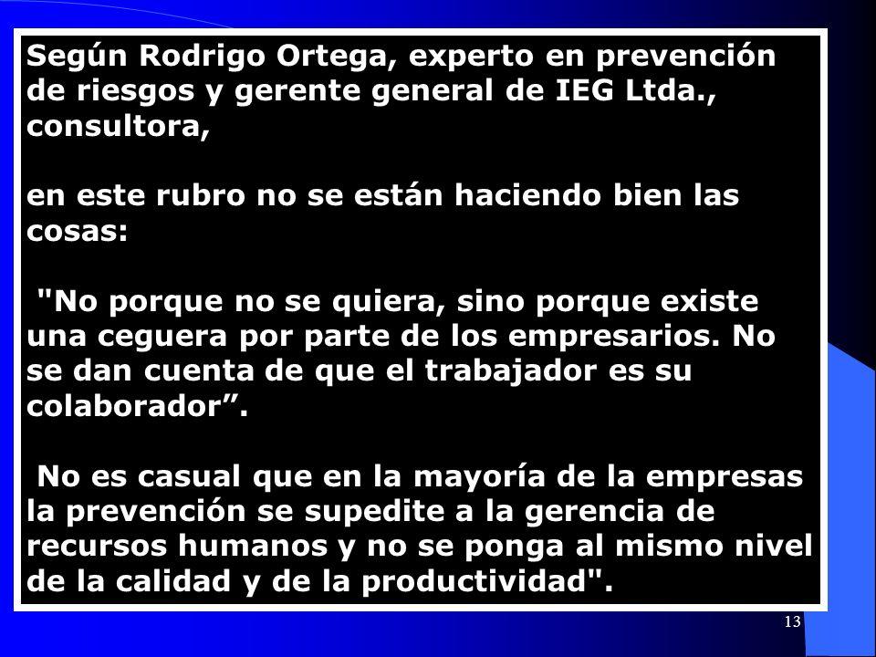 Según Rodrigo Ortega, experto en prevención de riesgos y gerente general de IEG Ltda., consultora, en este rubro no se están haciendo bien las cosas: